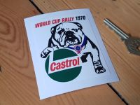 "World Cup Rally 1970 Castrol Bulldog Sticker 2.75"""