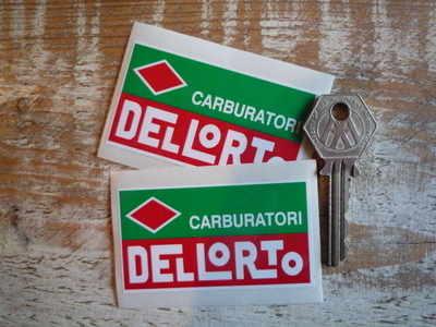 Dellorto Carburatori, Red & Green With Diamond Stickers Pair 2.75