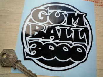 Gum Ball 3000 Black & White/Gold Sticker 4.5""