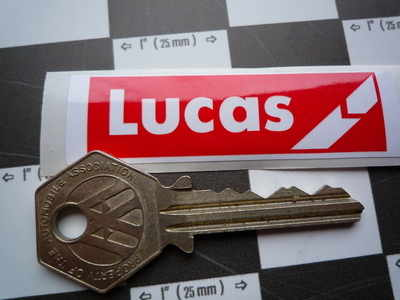 Lucas Coil Sticker. Red & White Break. V.