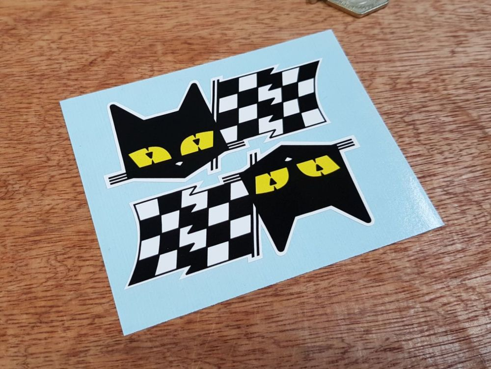 SEV Marchal Le Mans 24 Hour Cat & Chequered Flag Stickers. 3