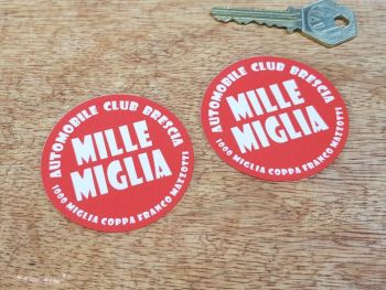Mille Miglia Automobile Club Brescia Window Stickers 60mm Pair