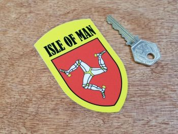 Isle Of Man Yellow Shield Window Sticker 3.75""