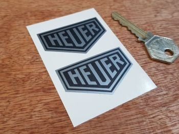 "Heuer Plain Black & Silver Stickers. 2"" or 3"" Pair."