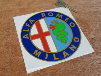 Alfa Romeo Milano Circular on Clear Sticker 5""
