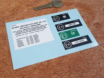 Rover Under Bonnet EU Patents Labels Sticker - E1 & E11 - Set of 5