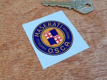 Maserati O.S.C.A Fratelli Bologna Dark Round Sticker 43mm
