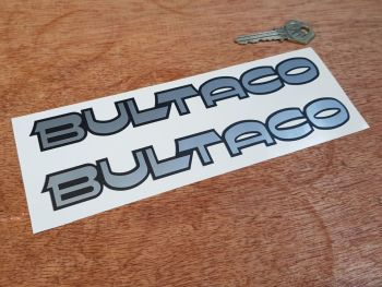 "Bultaco Silver & Matt Black Cut Text Stickers 8"" Pair"