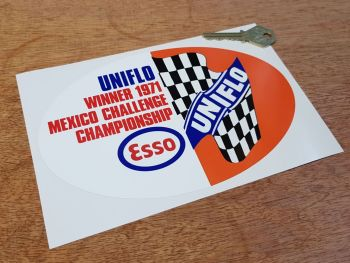 "Esso UniFlo 1971 Mexico Challenge Sticker - 4.25"" or 7.75"""