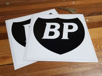 "BP Black & White Shield in White Square Stickers - 3"", 4"", 6"" or 7"" Pair"