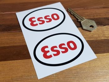 "Esso Black Edge Oval Stickers - 3"" or 4"" Pair"