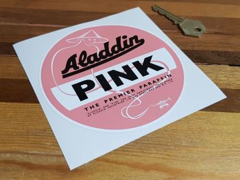 """Aladdin Pink Premier Paraffin White Border Sticker - 5"""" or 8"""""""