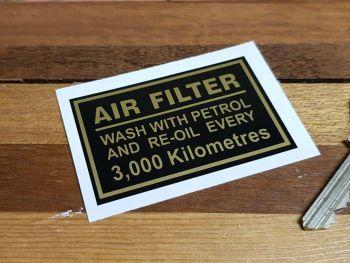 "Royal Enfield Air Filter Kilometres Sticker. 2.5""."