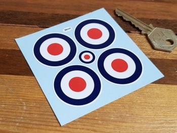 RAF Roundel Wheel Centre Style Stickers - 36mm or 50mm - Set of 4