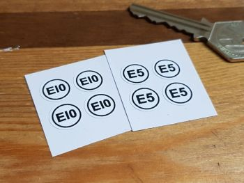 Ethanol E5 & E10 Petrol Fuel Labels - 12mm - Set of 4