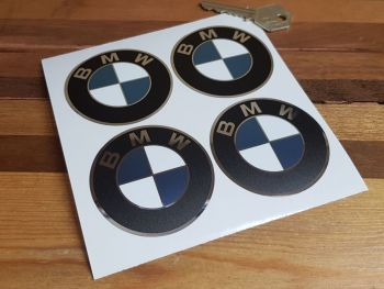 BMW Foil & White Detail Roundel Wheel Centre Stickers - Set of 4 - 65mm