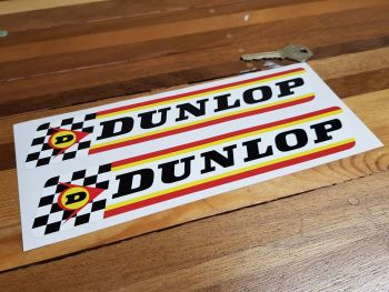 "Dunlop Check & Stripes Rounded Corners Style Stickers 9"" Pair"