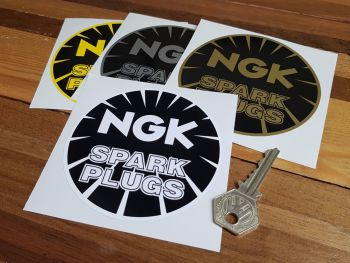 "NGK Spark Plugs Round Stickers. 3"", 4""  or 6"" Pair."