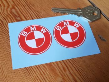 "BMW Red & White Roundel Stickers 1.5"" Pair"
