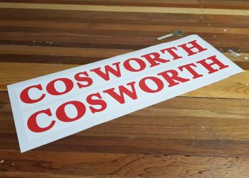 "Cosworth Red & White Oblong Stickers 13.5"" Pair"