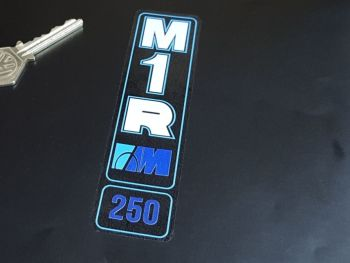 """Marzocchi M1R 250 Blue Frame & Outline Style Clear Vinyl Stickers 5"""" Pair"""