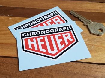 "Chronograph Heuer Black Surround Stickers 3"" Pair"