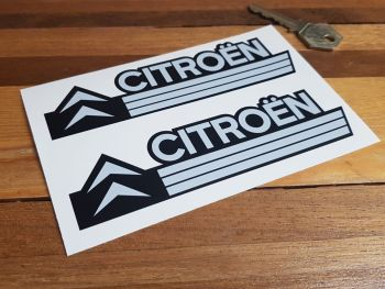 "Citroen Chevron & Stripes Grey & Black Stickers 5.5"" Pair"