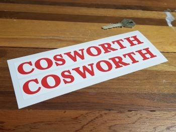 "Cosworth Red & White Oblong Stickers 7"" Pair"