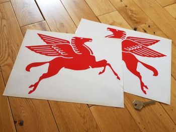 "Mobil Later Pegasus Shaped Red & White Stickers. 12"" Pair."