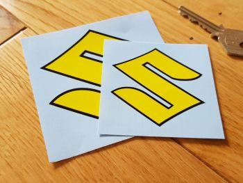 Suzuki Yellow & Black Shaped Open S Sticker - 60mm or 80mm