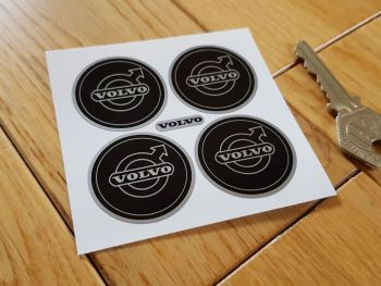 Volvo Black & Silver Wheel Centre Stickers - Set of 4 - 35mm or 50mm