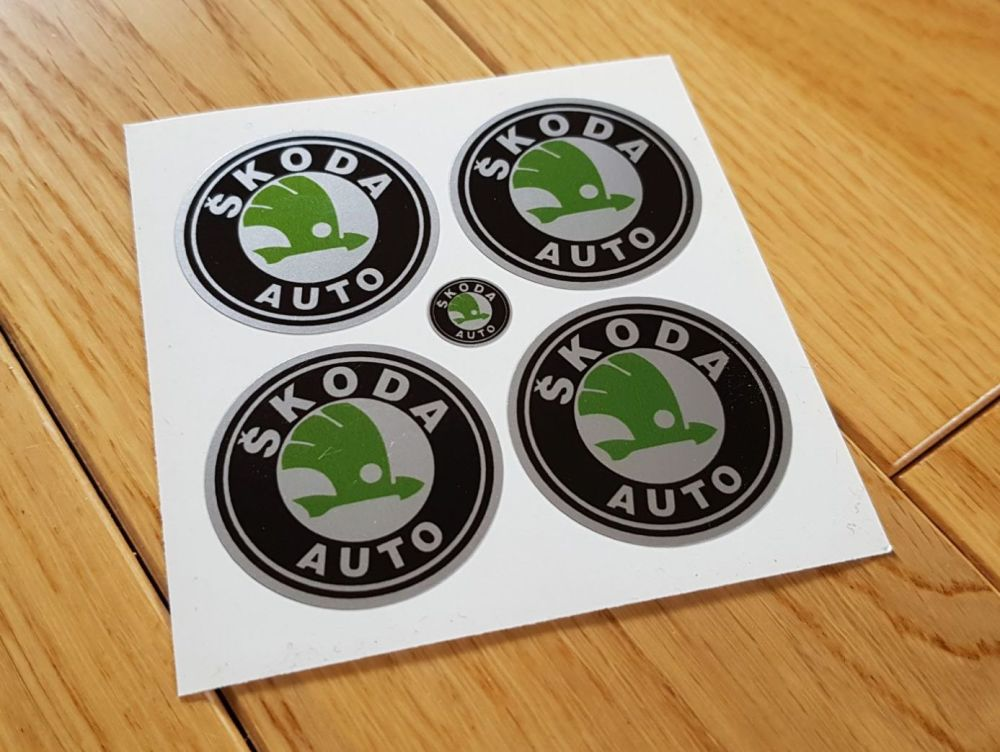 Skoda Wheel Centre Stickers. Set of 4. 50mm.
