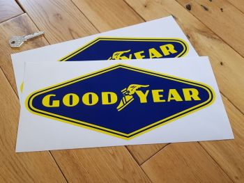 "Goodyear Yellow on Dark Blue Diamond Stickers - 9"" or 12"" Pair"