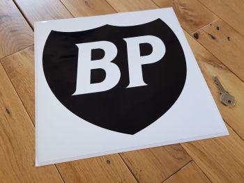 "BP Black & White Shield in White Square Sticker 12"""