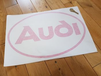 """Audi Cut Vinyl Red Oval Negative Style Sticker 17"""""""