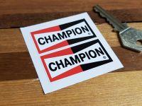 Champion Spark Plugs Plain Oblong Stickers. Various Sizes. Pairs.