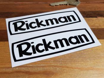 "Rickman Black on White Stickers - 2"", 5"", or 6"" Pair"