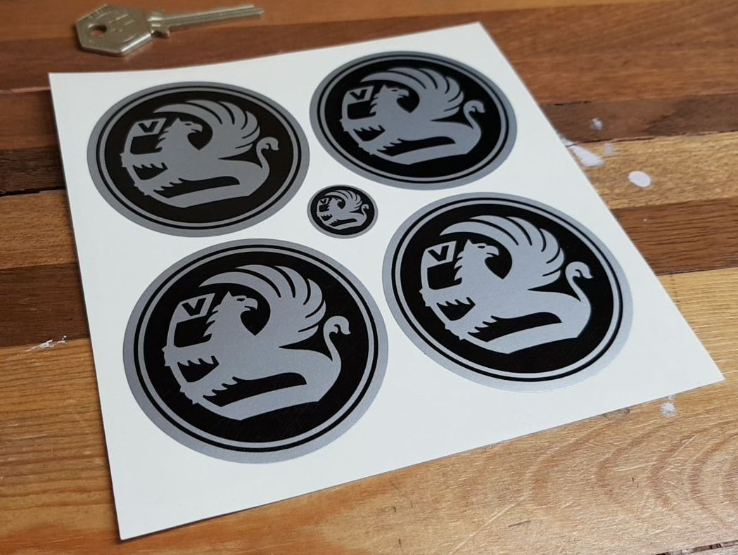 Vauxhall Black & Silver with Border Wheel Centre Stickers. Set of 4. 50mm.