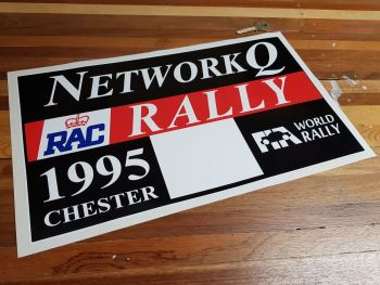 "Network Q RAC Rally 1995 Chester Plate Sticker. 16""."
