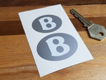 Bentley Oval White & Silver Stickers - 40mm & 50mm Pair