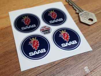 Saab Wheel Centre Style Dark Blue Stickers - 37mm