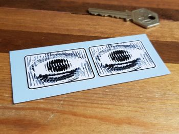 Pedal Car False Headlamp Oblong Style Stickers 45mm Pair