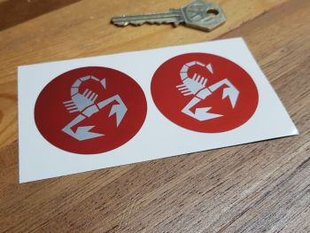 Abarth Scorpion Silver on Red Circular Stickers - 50mm Pair