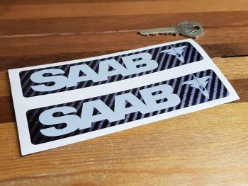 "Saab Aero Carbon Fibre Style Stickers 6"" Pair"