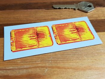 Pedal Car False Rear Light Oblong Style Stickers 50mm Pair