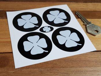 Alfa Romeo White & Black Cloverleaf Wheel Centre Stickers - Set of 4 - 50mm