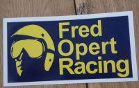 Fred Opert Racing Blue & Yellow Oblong Sticker. 14