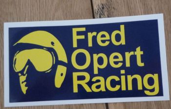 "Fred Opert Racing Blue & Yellow Oblong Sticker. 14""."