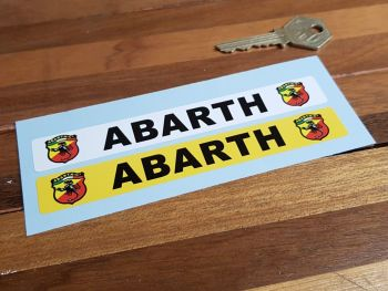 """Abarth Number Plate Dealer Logo Cover Stickers. 5.5"""" Pair."""