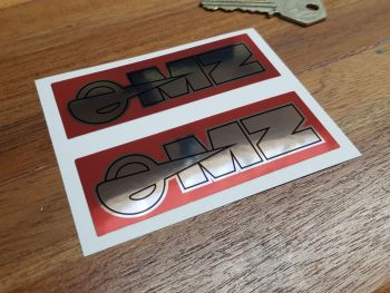 MZ Red & Foil Stickers 93mm Pair